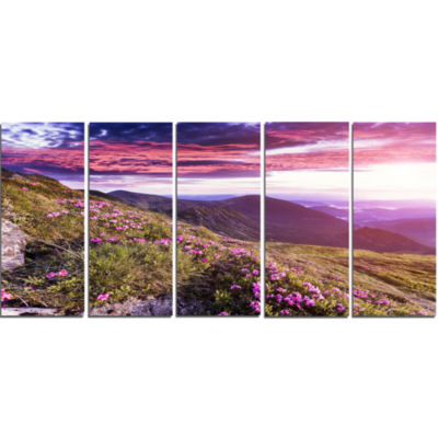 Rhododendron Flowers in Hills Landscape Photo Canvas Art Print - 5 Panels