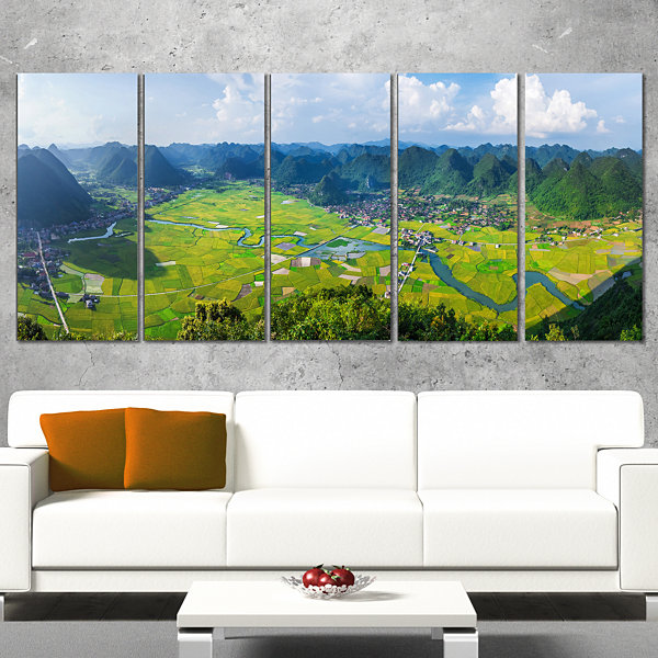 Designart Rice Field Valley Vietnam Panorama Landscape Wrapped Canvas Art Print - 5 Panels