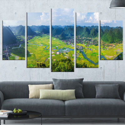 Rice Field Valley Vietnam Panorama Landscape Wrapped Canvas Art Print - 5 Panels
