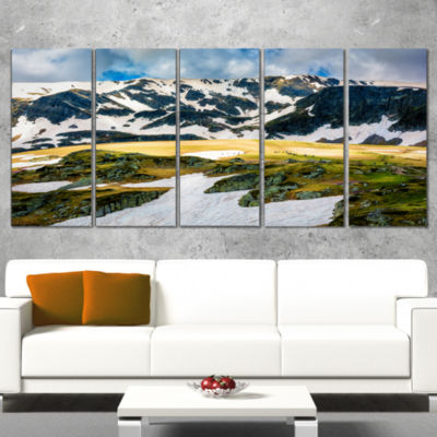 Designart Rila Lakes and Mountains in Bulgaria Landscape Canvas Art Print - 4 Panels