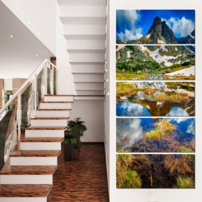 Rila Lakes District With Reflection Landscape Canvas Art Print - 4 Panels