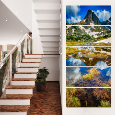 Rila Lakes District With Reflection Landscape Canvas Art Print - 5 Panels
