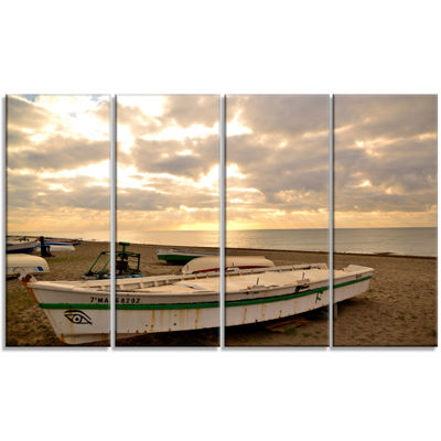 Designart Rincon De La Victoria Beach Seascape Canvas Art Print - 4 Panels