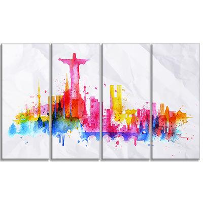 Designart Rio De Janeiro Skyline Cityscape CanvasArtwork Print - 4 Panels