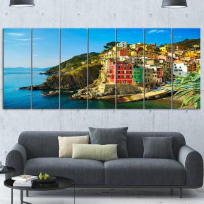 Designart Riomaggiore Village Rocky Beach SeascapeWrapped Canvas Art Print - 5 Panels