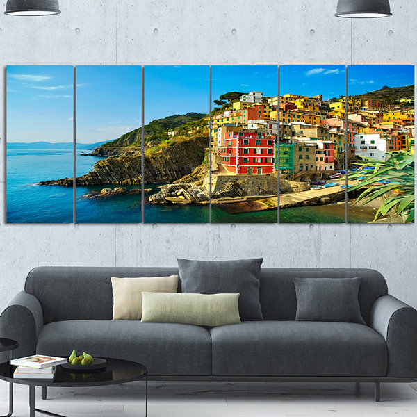 Designart Riomaggiore Village Rocky Beach SeascapeCanvas Art Print 6 Panels
