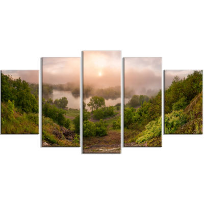 Rising Above The River Mist Landscape Photo CanvasArt Print - 4 Panels