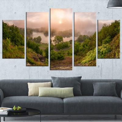 Designart Rising Above The River Mist Landscape Photo CanvasArt Print - 4 Panels