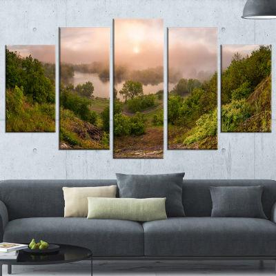 Designart Rising Above The River Mist Landscape Photo Wrapped Canvas Art Print - 5 Panels