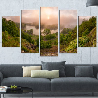 Rising Above The River Mist Landscape Photo CanvasArt Print - 5 Panels