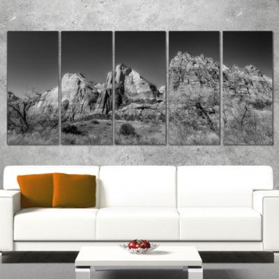 Designart Rising Red Rocks Black and White Landscape WrappedCanvas Art Print - 5 Panels