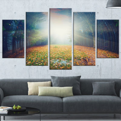 Designart Rising Sun Over Arched Forest LandscapePhoto Wrapped Canvas Art Print - 5 Panels