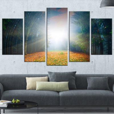 Designart Rising Sun Over Colorful Forest Landscape Photo Canvas Art Print - 5 Panels