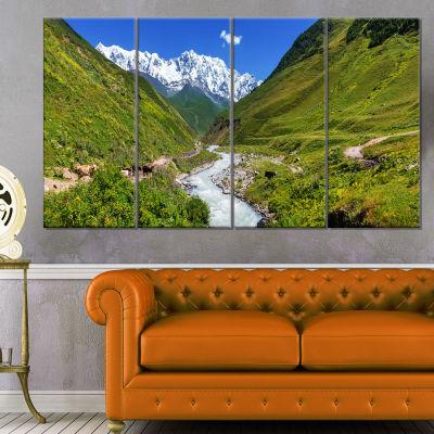 Designart River in Caucasus Mountains Landscape Canvas Art Print - 4 Panels