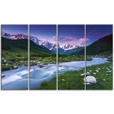 Designart River in Caucasus Mountains Landscape Photo CanvasArt Print - 4 Panels
