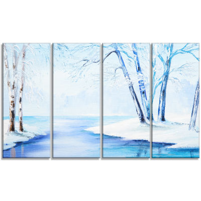 Designart River in Snowy Winter Abstract LandscapeArt - 4 Panels