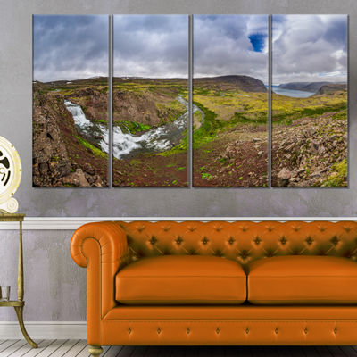 Designart River Leading To Waterfall Iceland Landscape PrintWall Artwork - 4 Panels
