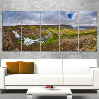 Designart River Leading To Waterfall Iceland Landscape PrintWrapped Artwork - 5 Panels