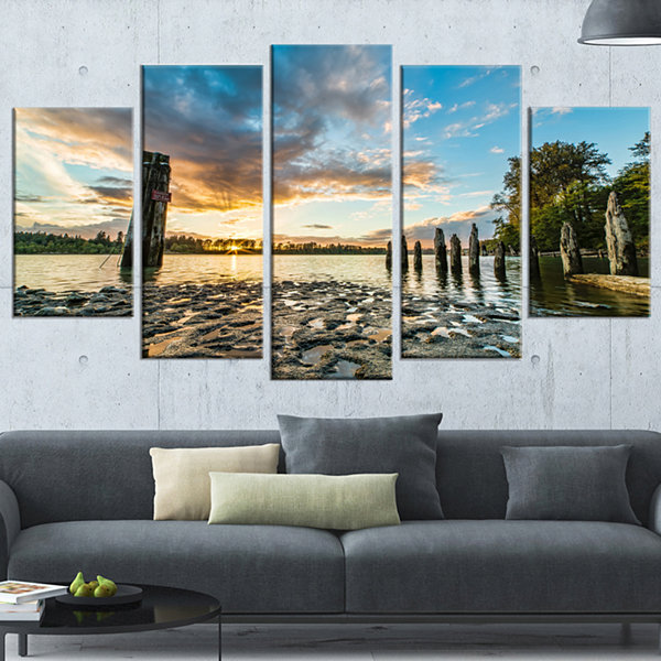 Designart Riverside Sunset With Wood Modern Seascape WrappedCanvas Artwork - 5 Panels