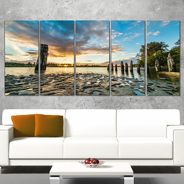 Designart Riverside Sunset With Wood Modern Seascape CanvasArtwork - 5 Panels