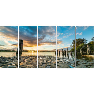 Riverside Sunset With Wood Modern Seascape CanvasArtwork - 5 Panels