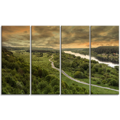 Road Along The Nemunas in Green Landscape ArtworkCanvas - 4 Panels