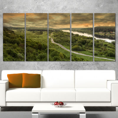 Road Along The Nemunas in Green Landscape ArtworkWrapped Canvas - 5 Panels