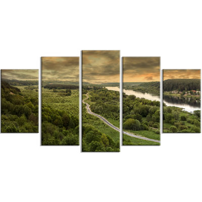 Designart Road Along The Nemunas in Green Landscape ArtworkWrapped Canvas - 5 Panels