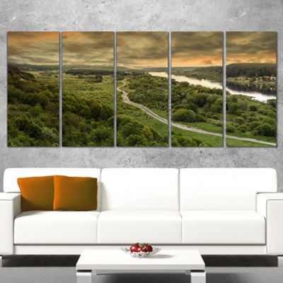Designart Road Along The Nemunas in Green Landscape ArtworkCanvas - 5 Panels