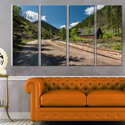 Designart Road in Chocholowska Valley Landscape Canvas Art Print - 4 Panels