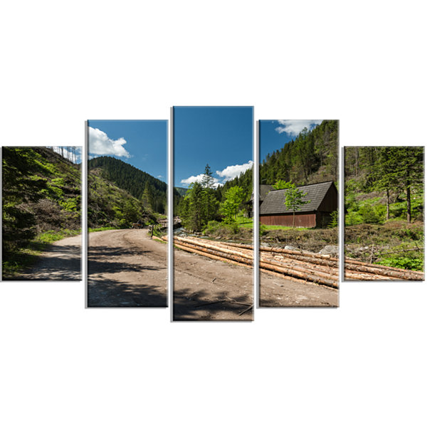 Road in Chocholowska Valley Landscape Wrapped Canvas Art Print - 5 Panels