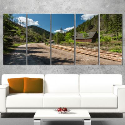 Designart Road in Chocholowska Valley Landscape Canvas Art Print - 5 Panels
