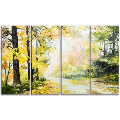Designart Road in Colorful Forest Landscape Art Print Canvas- 4 Panels
