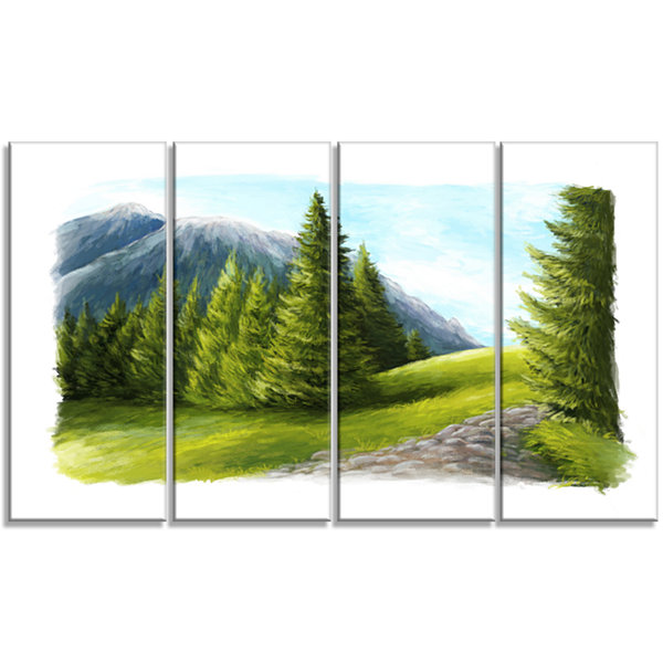 Designart Road in Green Mountains Landscape CanvasArt Print- 4 Panels