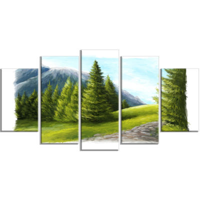 Road in Green Mountains Landscape Wrapped Canvas Art Print - 5 Panels
