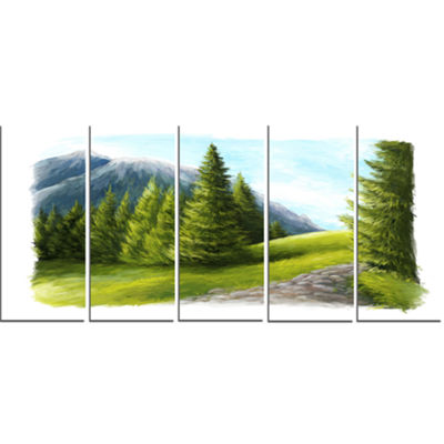 Designart Road in Green Mountains Landscape CanvasArt Print- 5 Panels