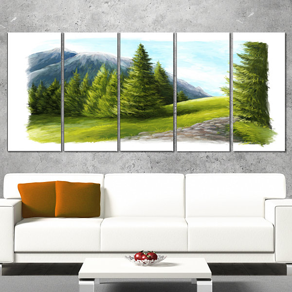 Road in Green Mountains Landscape Canvas Art Print- 5 Panels