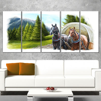 Designart Road in Mountains With Horses LandscapeCanvas ArtPrint - 5 Panels