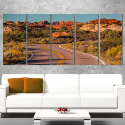 Road in Rocky American Prairie Landscape Wrapped Canvas Art Print - 5 Panels