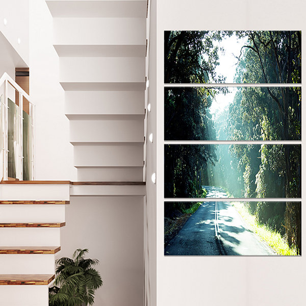 Designart Road in The Jungle At Sunset Landscape Canvas ArtPrint - 4 Panels