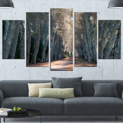 Designart Road in Thick Autumn Woods Modern ForestWrapped Canvas Art - 5 Panels