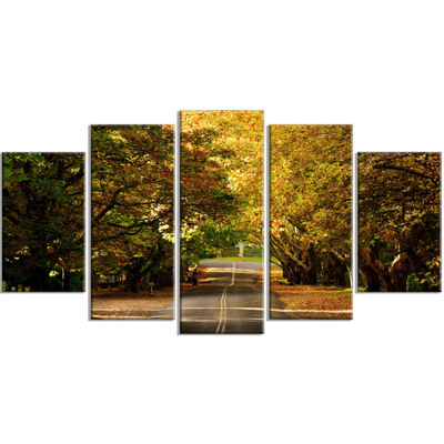 Designart Road Through Beautiful Green Trees Landscape Wrapped Canvas Art Print - 5 Panels