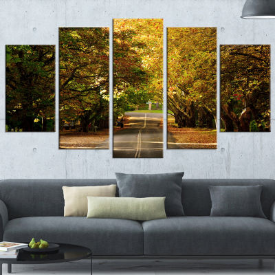 Road Through Beautiful Green Trees Landscape Wrapped Canvas Art Print - 5 Panels