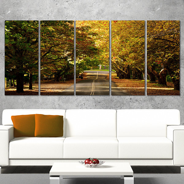 Designart Road Through Beautiful Green Trees Landscape Canvas Art Print - 5 Panels