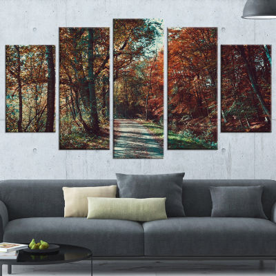 Designart Road Through Red Fall Forest Landscape Photo Wrapped Canvas Art Print - 5 Panels
