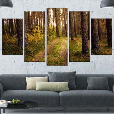 Road Through Thick Fall Forest Modern Forest Canvas Art - 4 Panels