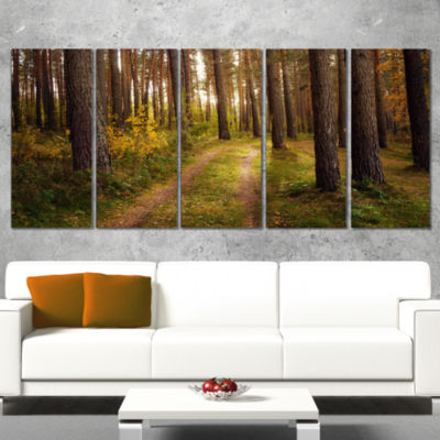 Road Through Thick Fall Forest Modern Forest Canvas Art - 5 Panels
