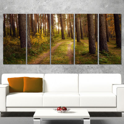 Designart Road Through Thick Fall Forest Modern Forest Canvas Art - 5 Panels
