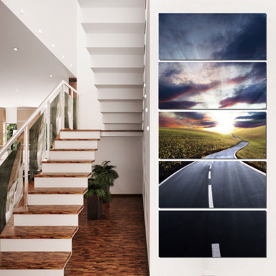 Designart Road To Hills Under Clouds Landscape Photo CanvasArt Print - 4 Panels