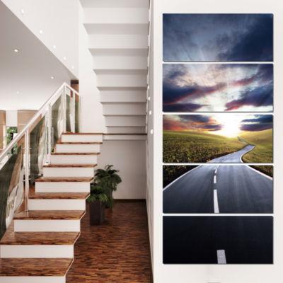 Designart Road To Hills Under Clouds Landscape Photo CanvasArt Print - 5 Panels